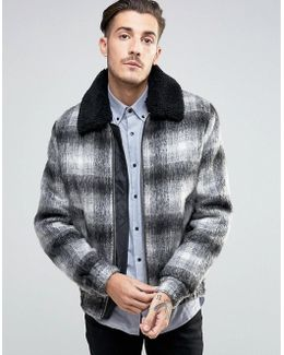 Wool Mix Bomber Jacket In Brushed Check With Borg Collar
