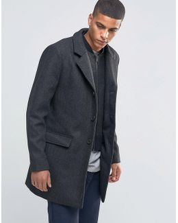 Herringbone Overcoat With Detachable Lining