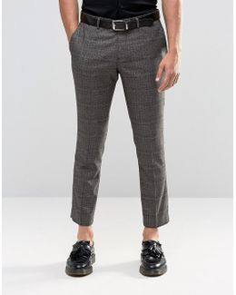 Cropped Skinny Fit Prince Of Wales Pants With Stretch