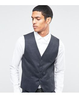 Suit Waistcoat With Brushed Tonal Check In Skinny Fit