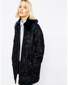 Camo Coat With Faux Fur Collar