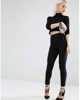 High Waisted Skinny Crop Trousers