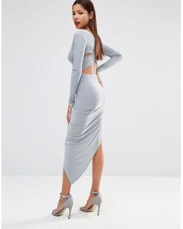 Slinky Cross Back Detail Dress With Asymmetric Skirt