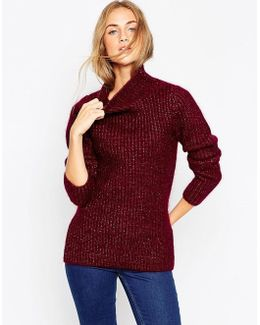 Premium Rib Stitch Jumper In Mohair With Funnel Neck