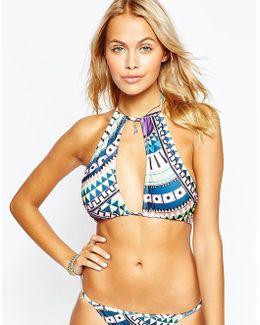 Dreaming Away Print High Neck Bikini Top