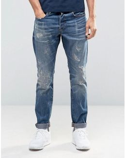 3301 Tapered Jeans Dark Aged Restored Distressed 86
