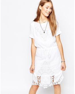 Short Sleeve Shift Dress With Lace Detail