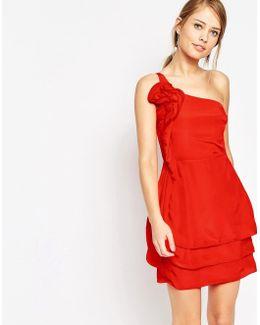 Ruffle One Shoulder Dress