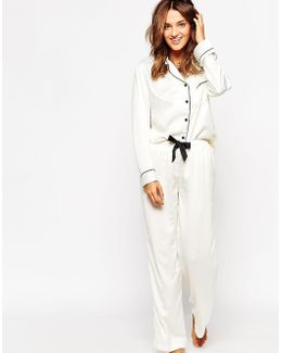 Claudia Shirt & Trouser Pyjama Set - White