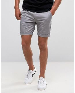 Slim Chino Shorts In Warm Grey