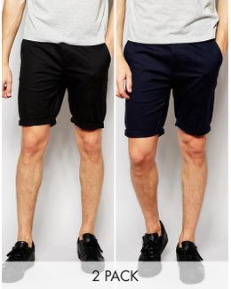 2 Pack Skinny Chino Shorts In Black & Navy Save
