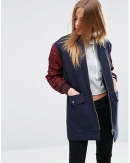 Cotton Jacket With Bomber Back Detail