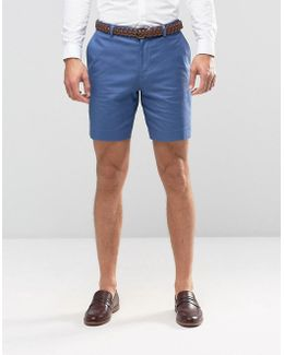 Slim Tailored Shorts In Denim Blue Washed Cotton