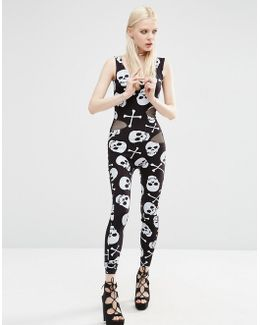 Halloween Catsuit With Skull And Cross Bone