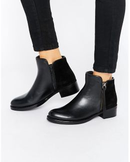Pryme Black Leather Ankle Boot