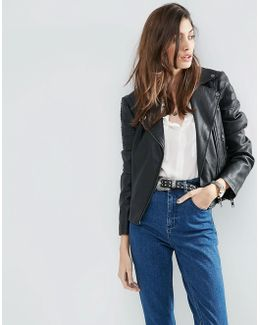 Ultimate Leather Look Biker Jacket With Piped Detail
