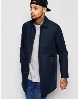 Single Breasted Trench Coat With Shower Resistance In Navy