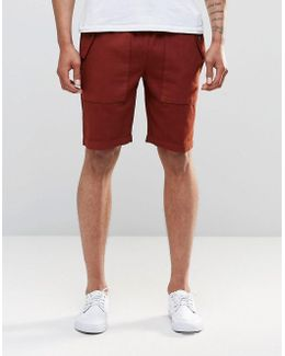 Slim Shorts With Cargo Pockets In Rust