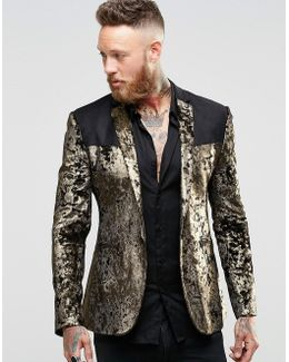 Super Skinny Blazer In Gold Velvet