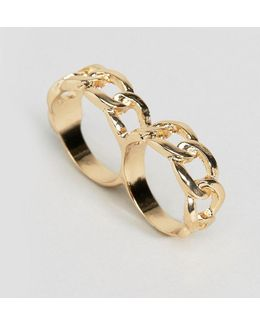 Linked Chain Double Finger Ring