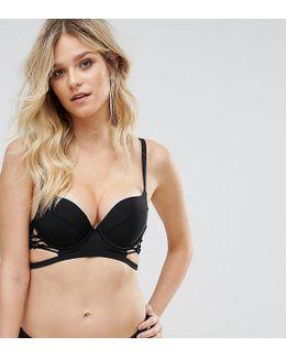 Plunge Macrame Lace Up Bikini Top B-g Cup