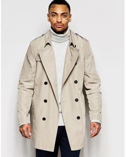 Shower Resistant Trench Coat In Stone
