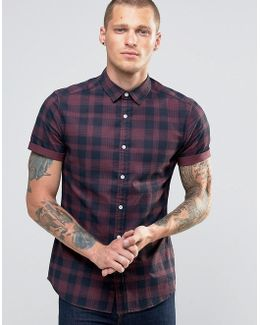 Skinny Check Shirt In Purple