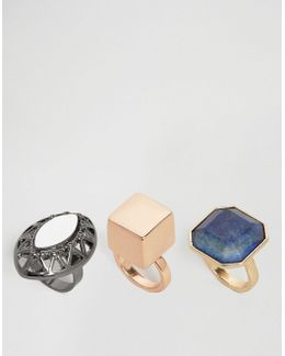 Pack Of 3 Statement Chunky Stone Ring
