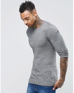 Muscle Fit Cotton Crew Neck Jumper