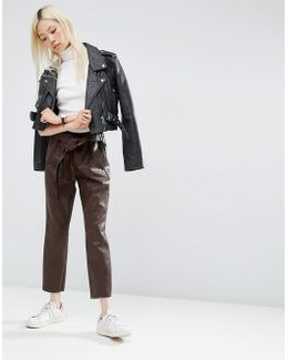 Premium Leather Look Peg Trousers With Obi Tie