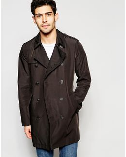 Shower Resistant Trench Coat In Black