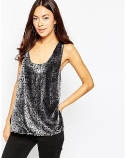 Velvet V Neck Singlet Top - Grey