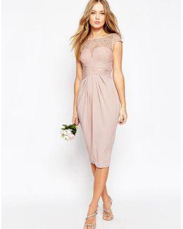 Wedding Lace Top Pleated Midi Dress