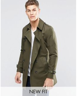 Double Breasted Trench Coat With Shower Resistance In Khaki