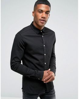 Skinny Denim Shirt In Black Overdye