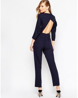 Jumpsuit With Wrap Back And Kimono Sleeve