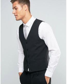 Wedding Waistcoat With Square Hem In Black