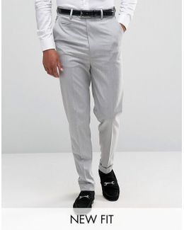 Super High Waisted Smart Trousers In Pale Grey