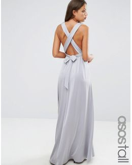 Slinky Ruched Tie Back Maxi Dress