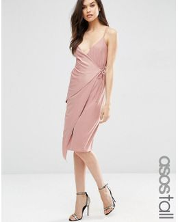 Double Strap Wrap Midi Dress
