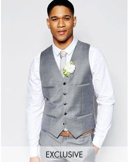 Summer Flannel Weddingsuit Waistcoat In Super Skinny Fit