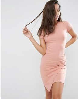 Bodycon Dress With Short Sleeves And Asymmetric Hem