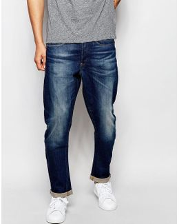 Jeans Type C 3d Tapered Fit Stretch Dark Aged Antique Wash