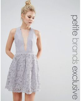 Scallop Plunge Front Skater With Mesh Panel And Lace Skirt