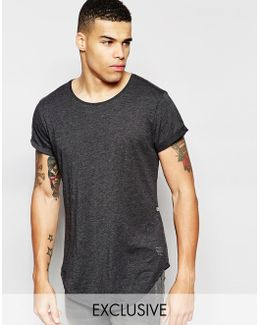 Be Raw T-shirt Vontoni Longline Loose Fit Crew Washed Out In Black