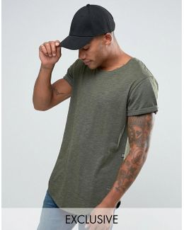 Be Raw T-shirt Vontoni Longline Loose Fit Crew Washed Out In Green