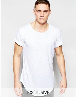 Be Raw Exclusive To Asos T-shirt Vontoni Longline Loose Fit Crew Washed Out In White