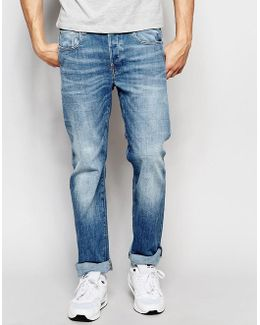 Jeans Attacc Straight Fit Zip Back Pocket Stretch Light Aged