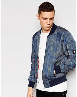 Jacket Attacc Bomber All Over Dot Camo Print In Sapphire Blue