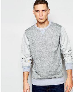 Crew Sweatshirt Riban Contrast Sleeve In Grey Heather